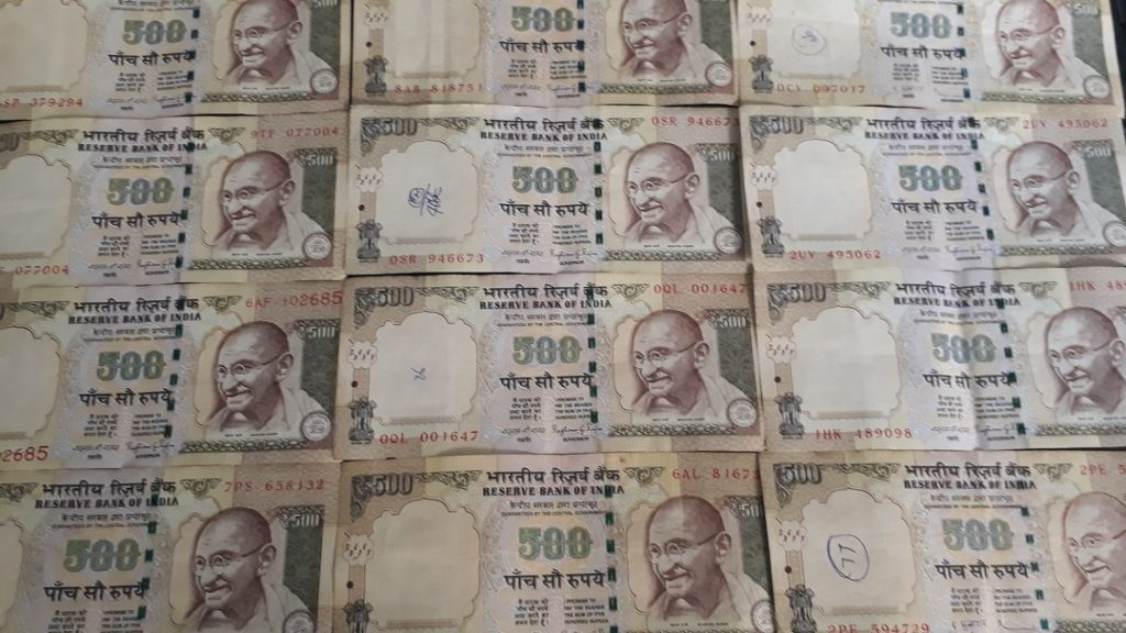 500 Rupee notes places side by side