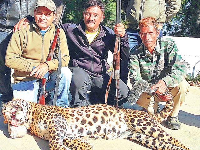 Joy Hukil with leopard