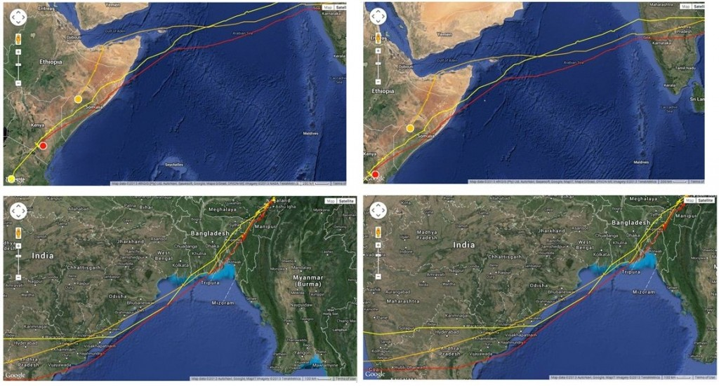 Satellite tracking images of the three falcons over the ocean and India