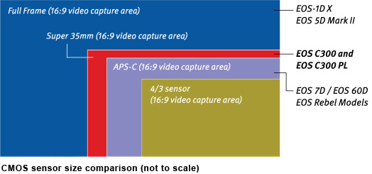 C300 sensor size in comparison to other sensors (source Canon)