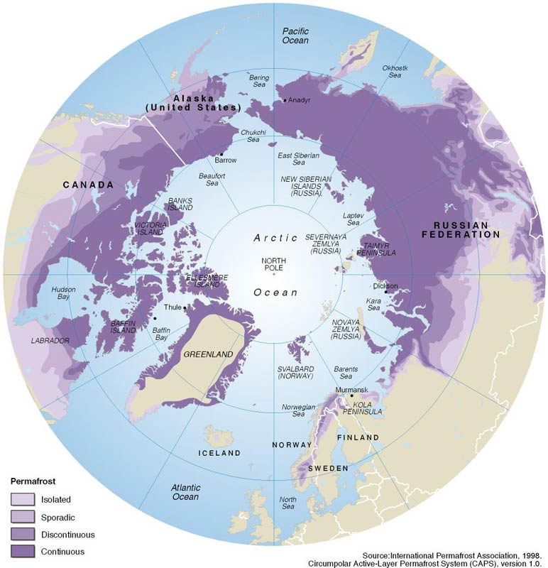 Permafrost distribution in the arctic