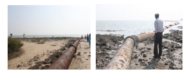 Disposal pipeline has been laid in the inter tidal area