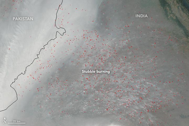 NASA image showing crop burning in Punjab