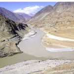 Natural confluence of Zanskar and Indus River in Ladhak