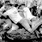 Three men on jallikattu bull